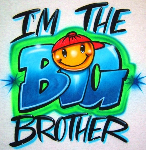 Airbrush T Shirt with I'm The BIG Brother, Big Brother Shirt, Brother Shirt, Airbrush Big Brother Shirt, Airbrush Shirt, Big Brother