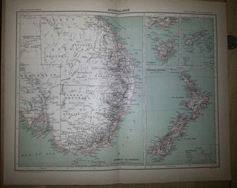 Antique Map of Australia and New Zeland 1891 Large Map of Australia and New Zeland 18 by 14 inches