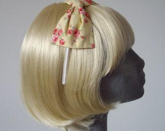 Yellow Headband,Yellow Bow Headband, Yellow-Pink Rose Floral Bow Headband, Yellow Bow Aliceband, Yellow Hair Bow, Yellow Hair Accessory
