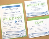 Reserved Listing for Megin - Balance of Wedding Invitation Suite / Beach Wedding Invitations, Nautical Beach Theme with Modern Typography