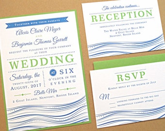 Wedding Invitation Suite / Beach Wedding Invitations, Nautical Beach Theme with Modern Typography - Deposit