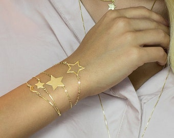 Twinkle Star Bracelet Gold 18k Vermeil Bridesmaids Gift Friendship Fantasy Jewelry
