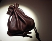 Leather Drawstring Pouch Bag - Sack Bag - Brown