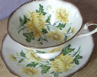 Antique Royal Standard bone china tea cup set, yellow flowers, artist signed, English tea set, yellow and white tea cup and saucer set