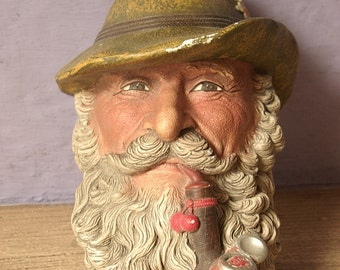 Vintage Bossons Character Head, Tyrolean, 1972, hand painted English chalkware, English barware, pipe smoker, gift for grandfather, cameo