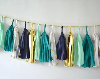 Winter Wonderland | Mint | Navy | Teal | Polka Dots | Gold | 27 Sparkle & Shine Tissue Tassel Garland