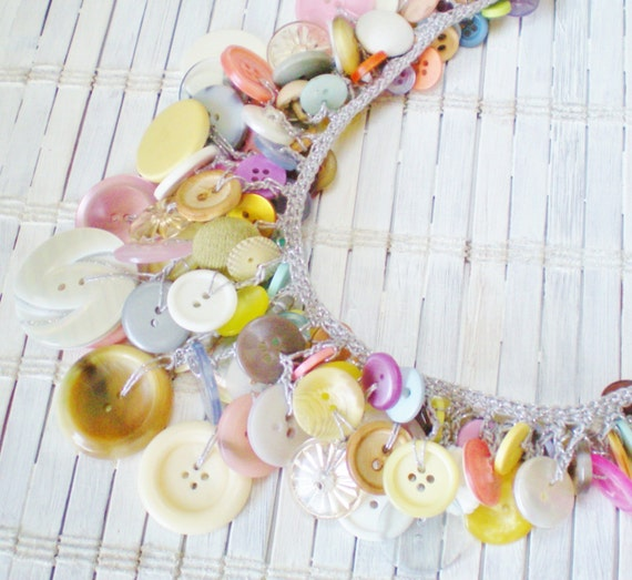 Vintage Buttons Crocheted Bib Necklace / Candy Colors
