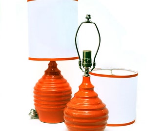 Pair of orange ceramic lamps, OOAK