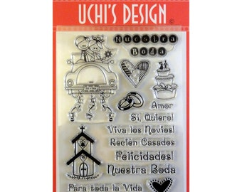 """Rubber Stamp Set - 15 Boda Wedding Stamps in Spanish - 4""""X6"""" Sheet by Uchi's Design (307331)"""