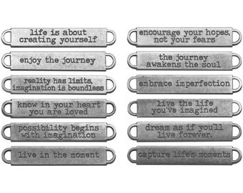 12 Inspirational Life Word Bands Ant. Silver Metal 9 X 60mm Connectors Tim Holtz  (208792)