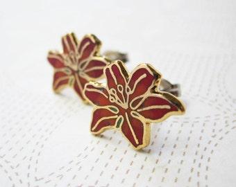 Enamel Earrings - Red & Orange Lily - Flower Earrings - Vintage Cabochons - Surgical Steel Earrings - Holiday Jewelry - Poinsettia