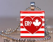 Scrabble Tile Pendant - Canada Day - I Love Canada - Canada Eh?   Free Silver Plated Ball Chain (CD2)