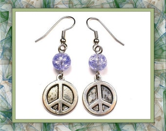 Lilac Crackle Glass Peace Sign Earrings (Clip-On by Request)