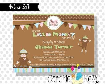 Printable Neutral or Blue Sock Monkey Modern Monkey Polkadot Stripes Baby Shower Invitation - Printable Digital File