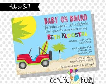 Printable Surfboard, Surf, Woody, Palm Tree, Hawaiian, Tropical, Baby Shower Invitation, Birthday, Printable Digital File