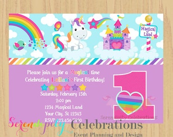 12 Printed Invitations By Serendipity Celebrations -Magical Unicorn Land-Birthday -Baby Shower -Printing Service