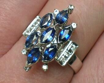 Sapphire & Diamond Ring, Cocktail Cluster, Atomic era Retro Statement piece. Size 6 1/4