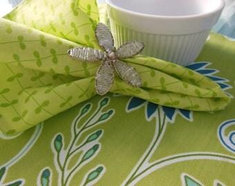 Lime Cloth Napkins - Set of Four - Green Vine Striped Design Napkins by Pillowscape Designs