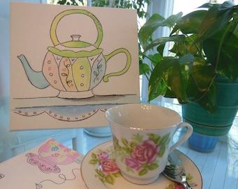 15% Sale ~ Teapot Artwork  ~~ Whimsical Teapot Design  ~~ Canvas, Watercolor, Glitter Accent ~~ Breakfast Nook Kitchen Girls Bedroom