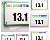 Half Marathon Good Luck Race Bib Running Greeting Card - You Can Do It - 13.1 Race Number or Personalized Bib Number & Color of Your Choice