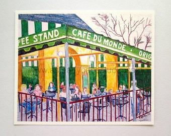 8 x 10 Art Print - Cafe Du Monde, New Orleans - Reproduction of Original Drawing - optional 11 x 14 Mat - NOLA art, cityscape, home decor