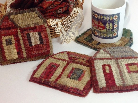 Rug Hooking Pattern, Little House Mug Rugs, J805, Primitive Rug Hooking Design, DIY Rug Hooking