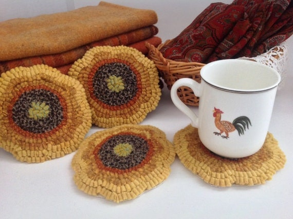 Rug Hooking PATTERN, Sunflower Mug Rugs, J821