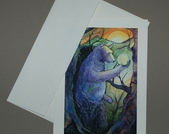 Bear Holding The Moon 5 x 7 Card