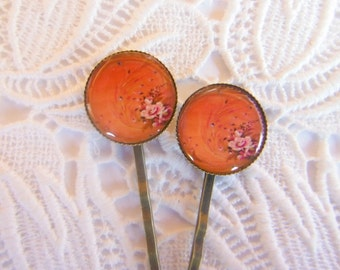 Apricot Floral Hair Clips Bobby Pins.