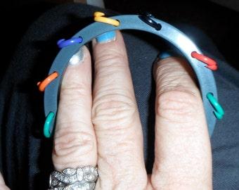 vintage bakelite tambourine bangle bracelet blue moon