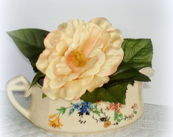 Antique W.S.George Gravy Boat Argosy Ivory 110D Pottery Between 1904-1950 Floral Transfer Both Sides Gold Trim
