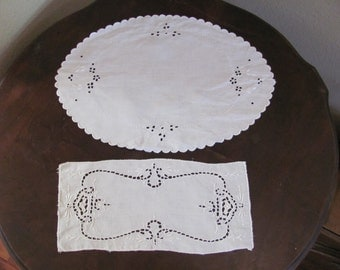 2 Lovely Antique White Linen Doilies