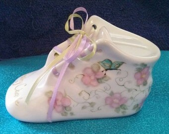 Hand Painted Porcelain Baby Shoe