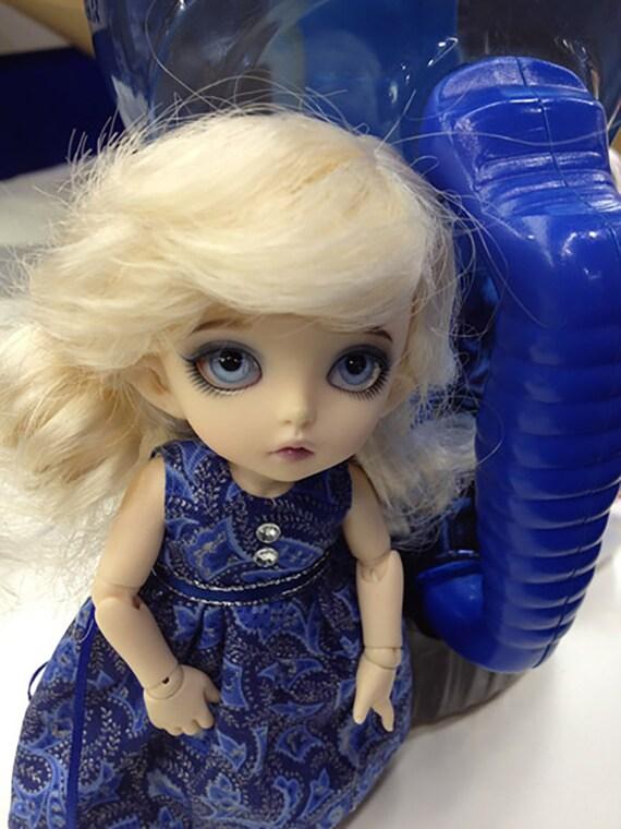 Blue Paisley dress for PukiFee / Lati Yellow / 16cm doll