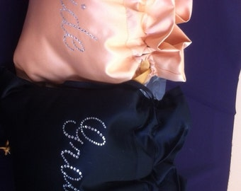 Gold and Black  Bride and Groom Rhinestone Bags Money Bags
