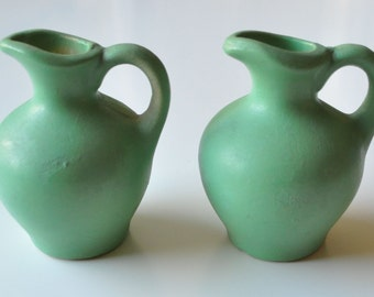 Small Green Pottery Pitcher / Vase Set