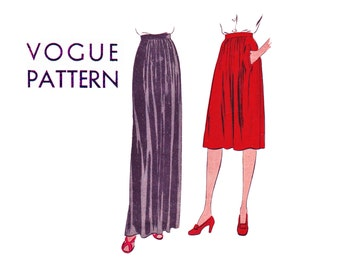 Vogue 1940s Skirt Long Knee length Waist 25 Front & Back Center soft gathers slim line Easy to Make UNCUT Vintage Sewing Pattern Vogue 9468