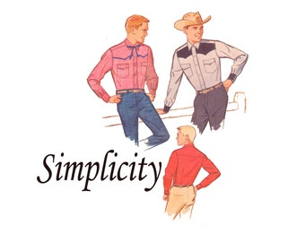 Men's Western Shirt UNCUT 1960s Vintage Sewing Pattern Chest 40 Neck 15 1/2 Front and Back Yokes 60s Western Shirt Simplicity 4703