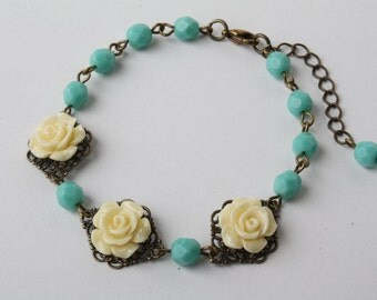 Yellow Rose bracelet, yellow and aqua bracelet, yellow flower bracelet, yellow wedding jewelry, shabby chic bracelet, gift, made in Canada