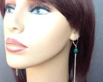 Green malachite barrel bead and silver chain long earrings