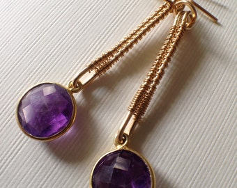 Gold-filled earrings with the bezel-set amethyst beads - wire wrapped dangle earrings