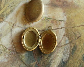 2 Vintage Old Puffed Brass Locket Charms