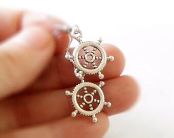 Antiqued Silver Ship Wheel Dangle Earrings - S0001