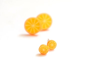 Tiny Miniature Sliced Orange Post Earrings 4mm 10mm