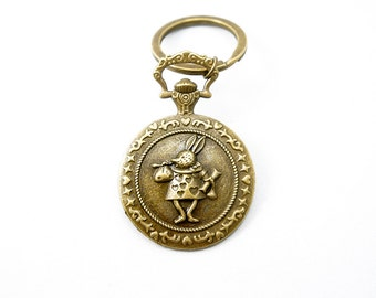 Alice in Wonderland Style Hare Bunny Pocket Watch Look Keyring - Antiqued Brass Vintage Style Key Ring - CP100