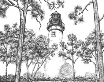 Amelia Island Lighthouse - Note Card Package