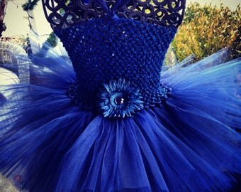 Navy Tutu Dress great for Flower Girls, Weddings, Special Occassions, Birthdays, Photography Prop, and Dance