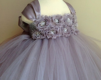 Gray flower girl dress with gray chiffon flowers. Tutu dress