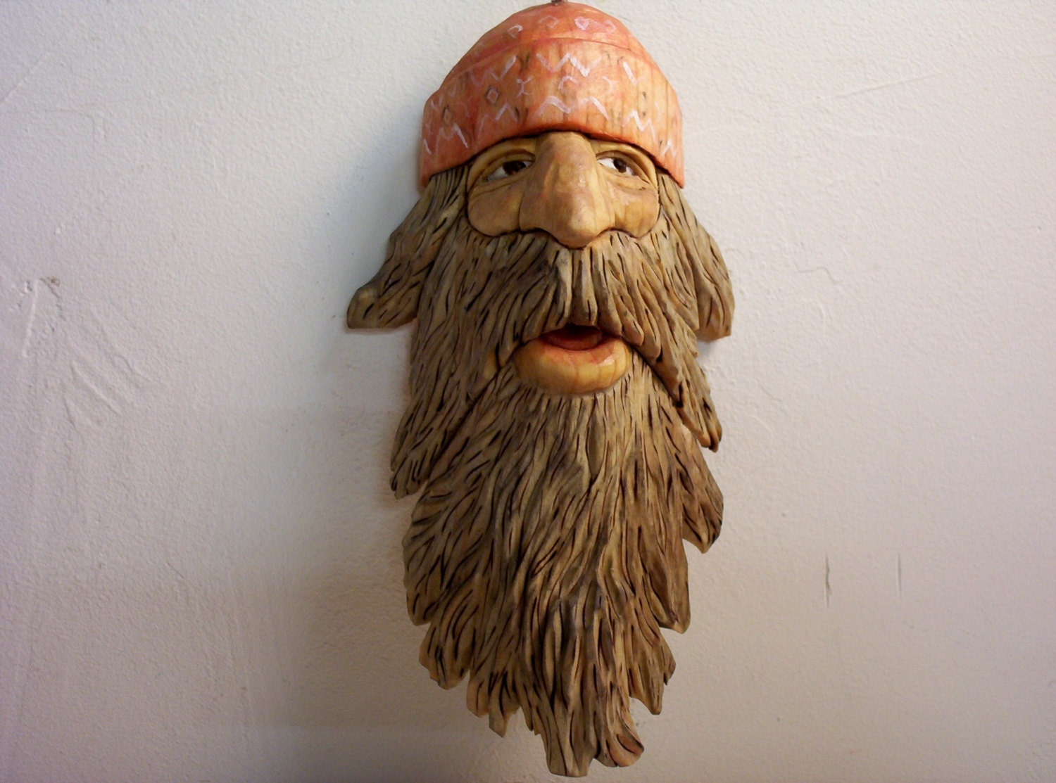 Hand carved caricature motorcycle rider good ole boy wood