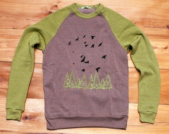 goin for a hike Color Block Sweater, Bird Sweater, Hiking Shirt, Unisex Pullover, XS,S,M,L,XL